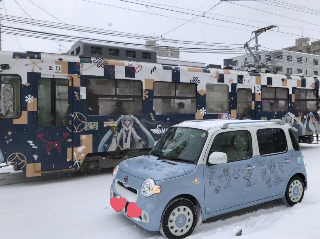 雪ミクココアと雪ミク市電2018 (2018年2月)