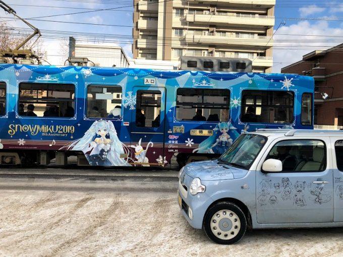 雪ミクラッピング札幌市電と雪ミクココア