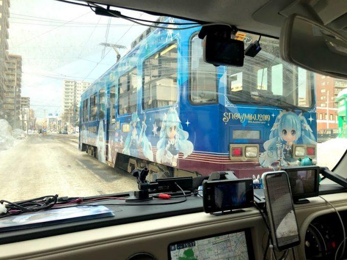 雪ミクココア車内から見た市電(助手席の嫁撮影)