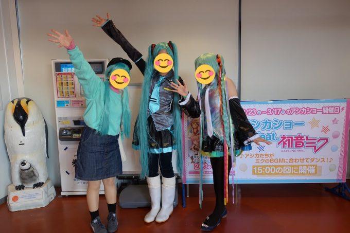 アシカショー feat. 初音ミクのミクコスおねえさん(中央)
